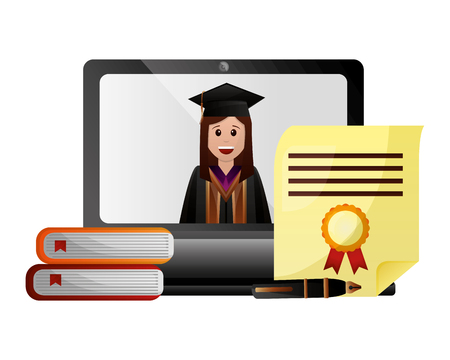graduate woman laptop books diploma fountain pen vector illustration