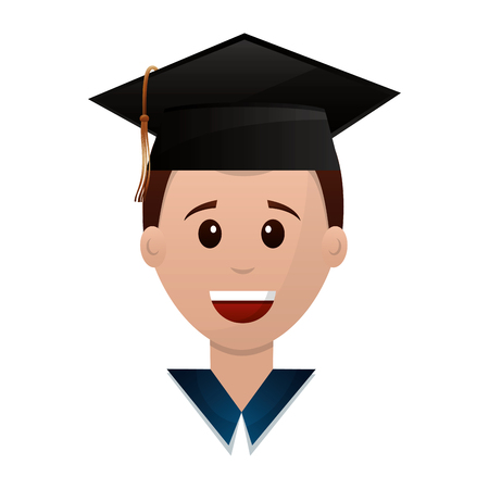 graduate man face with graduation hat vector illustration Imagens - 112384829