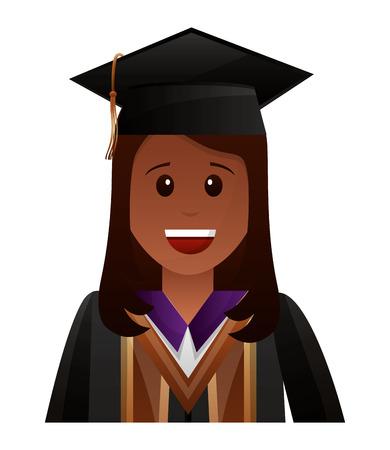 smiling graduate woman portrait character vector illustration