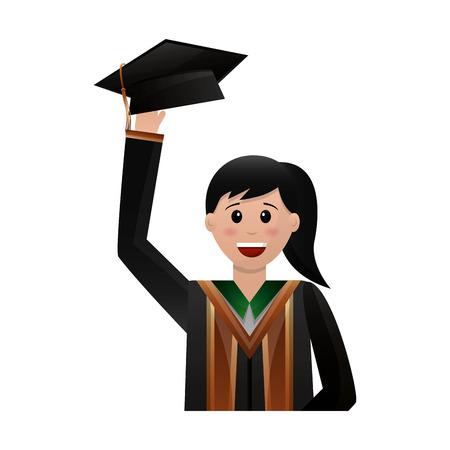 illustration vectorielle de sourire diplômé femme portrait caractère