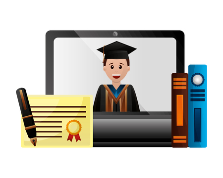 computer graduate man books certificate and pen vector illustration