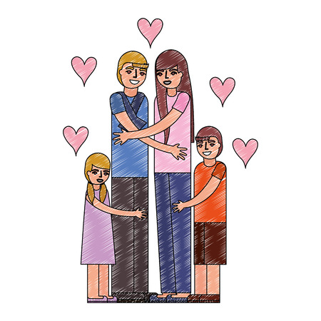cute couple with son and daughter love hugging vector illustration drawing