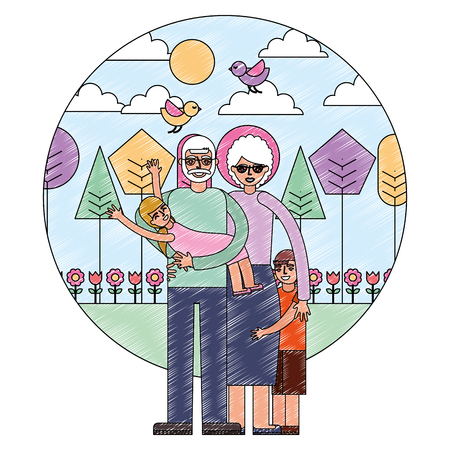 grandpa carrying granddaughter and grandma with grandson in the park vector illustration drawing