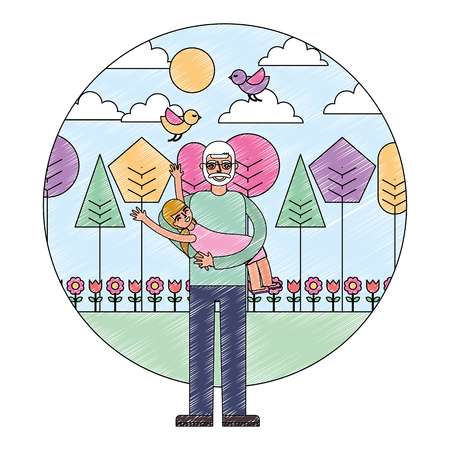 grandpa carrying her granddaughter in the park vector illustration drawing