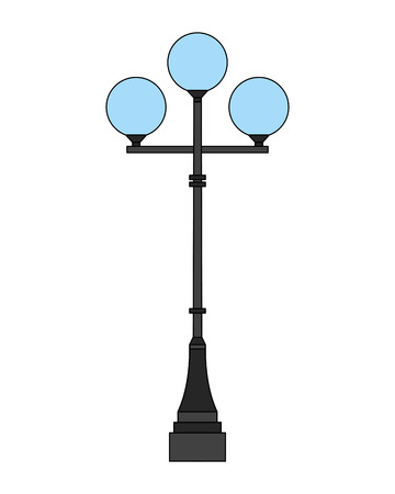 lamp post light round bulb image vector illustration