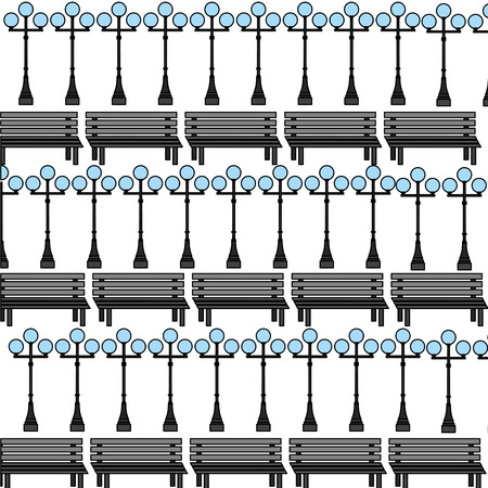 bench and lampost decoration pattern vector illustration