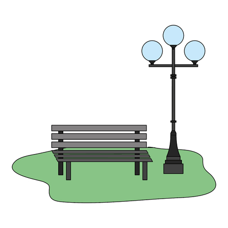 bench and lamppost park decoration vector illustration Ilustração