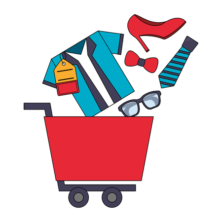shopping cart tshirt tie shoe glasses buy online vector illustration Иллюстрация