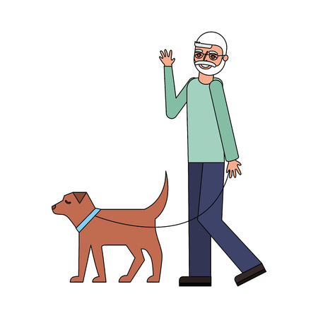 grandfather walking with her dog vector illustration