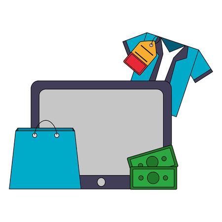 tablet mobile shopping bag shirt money buy online vector illustration Ilustrace