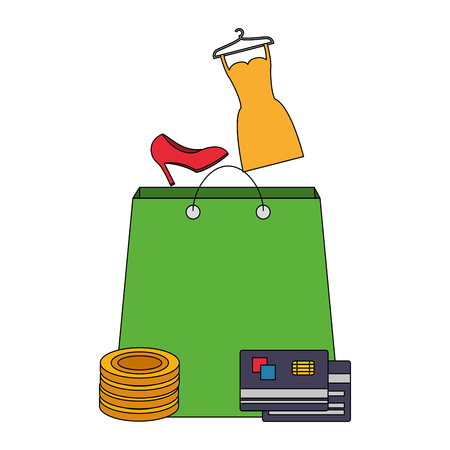 shopping bag dress shoe money bank card buy online vector illustration Illustration
