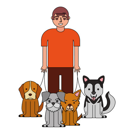 young man walking with dogs vector illustration
