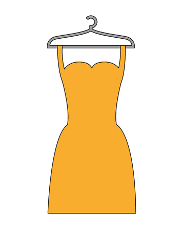 yellow dress fashion with hanger vector illustration Illustration