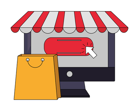 computer buy online shopping bag vector illustration