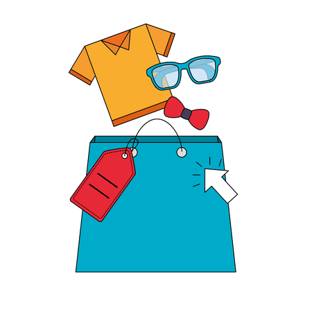 shopping bag shirt bowtie glasses price tag buy online vector illustration