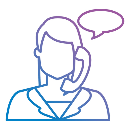 call center woman with telephone and speech bubble vector illustration