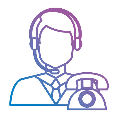 call center agent with headset and telephone vector illustration design