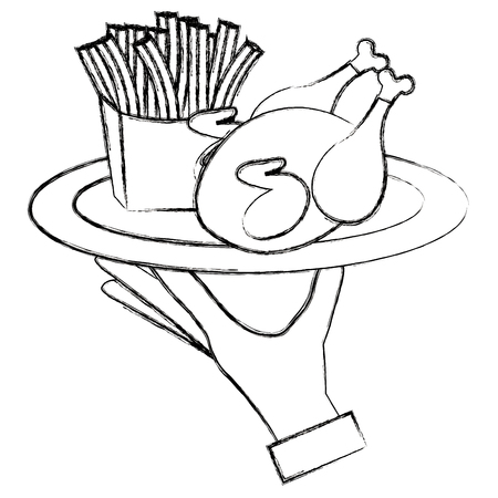 hand lifting tray with chicken and french fries vector illustration design Archivio Fotografico - 105631546