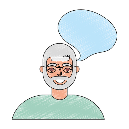 portrait old man grandpa talk bubble vector illustration drawing Çizim