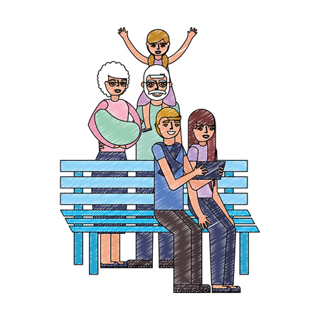 cute family in chair park vector illustration design Ilustração