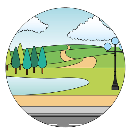 landscape trees lake road street and lamppost vector illustration Ilustrace