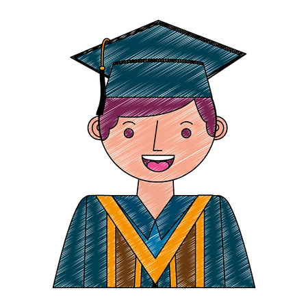 young man graduated avatar character vector illustration design Stok Fotoğraf - 112384893