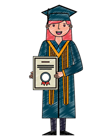 young woman graduated with diploma avatar character vector illustration design Çizim