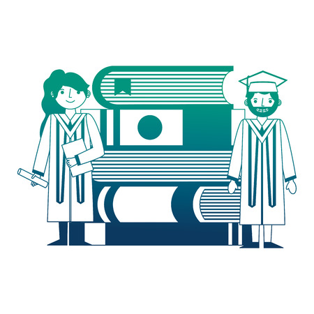 graduate man and woman certificate and pile books vector illustration neon design 일러스트