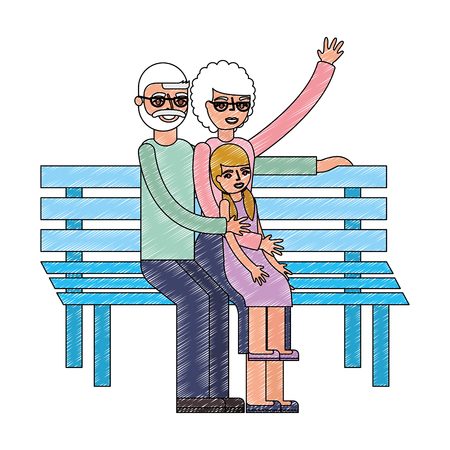 grandpa and grandma with granddaughter sit in bench vector illustration drawing Çizim