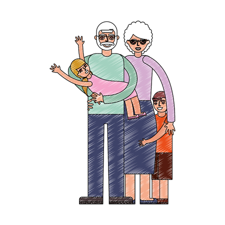 grandpa carrying granddaughter and grandma with grandson vector illustration drawing