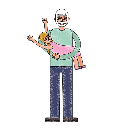 happy grandpa carrying her granddaughter vector illustration drawing