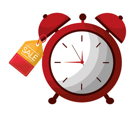 alarm clock hour tag price commerce vector illustration 写真素材 - 112384916