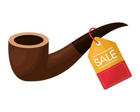 tobacco pipe accessory tag price commerce vector illustration Иллюстрация