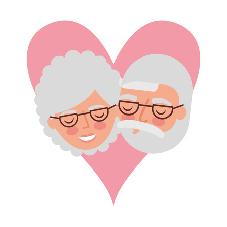 grandparents faces in love heart vector illustration