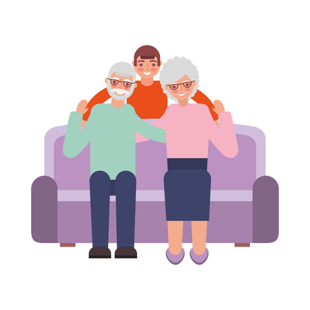 grandparents with grandson sitting on sofa vector illustration 向量圖像
