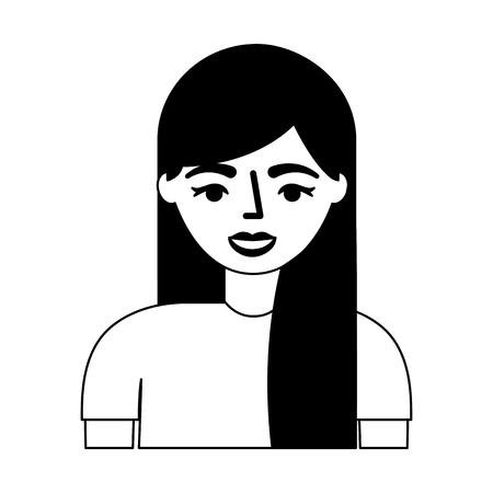 young woman character with long hair vector illustration monochrome