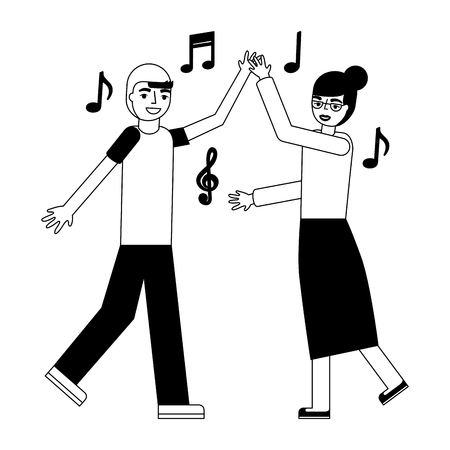 grandmother and grandson dancing music vector illustration monochrome Standard-Bild - 112384932