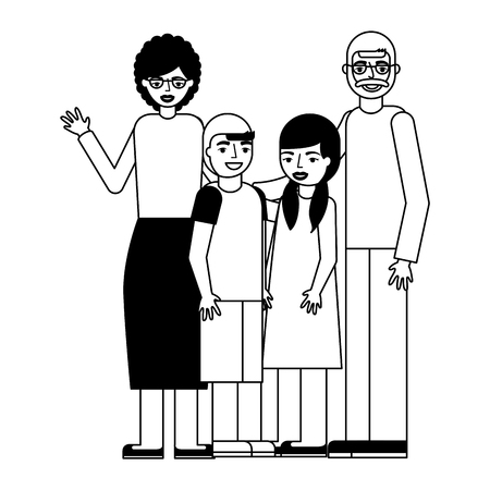 grandparents with grandson and granddaughter vector illustration monochrome