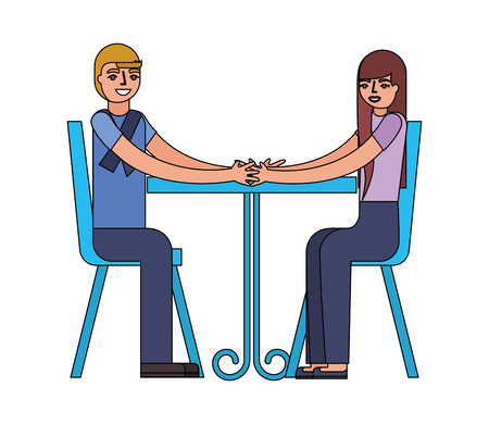 young couple sitting on chair with table vector illustration
