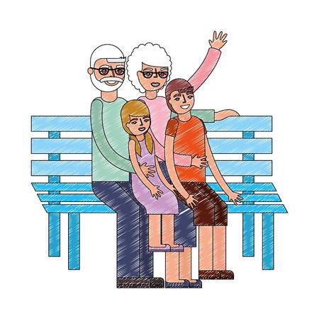 grandparents with grandchildren sitting on bench vector illustration drawing 일러스트