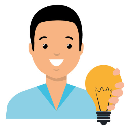 young man with bulb light vector illustration design