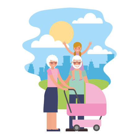 cute grandparents with grandchildren and baby cart in landscape vector illustration design