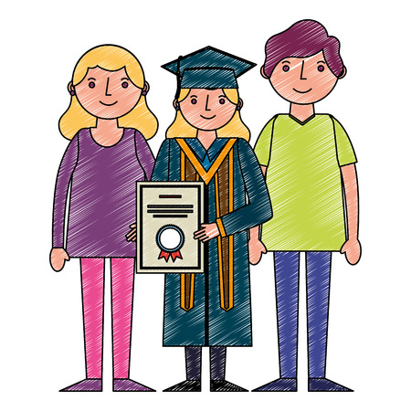 young woman graduated with diploma and parents vector illustration design Çizim