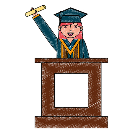 young woman graduated with diploma in podium vector illustration design