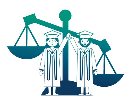 graduate man and woman lawyer characters vector illustration neon design