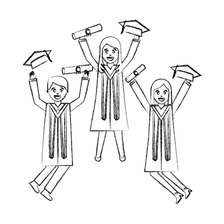 celebrating graduation people with certificate vector illustration hand draw Illustration