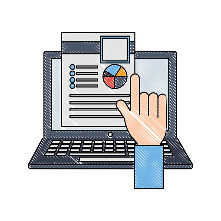 hand with laptop computer and document vector illustration design