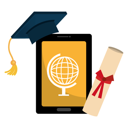 tablet with hat and diploma graduation vector illustration design