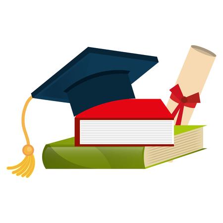Sombrero de graduación con libros y diploma, diseño de ilustraciones vectoriales Ilustración de vector