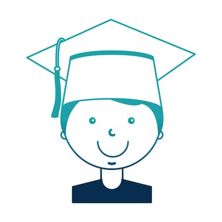 student boy graduted avatar character vector illustration design